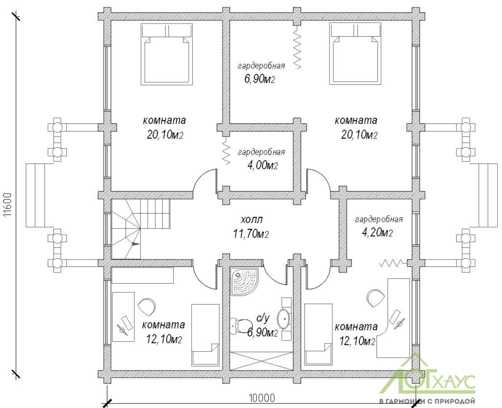Планировка второго этажа дома из бревна №246