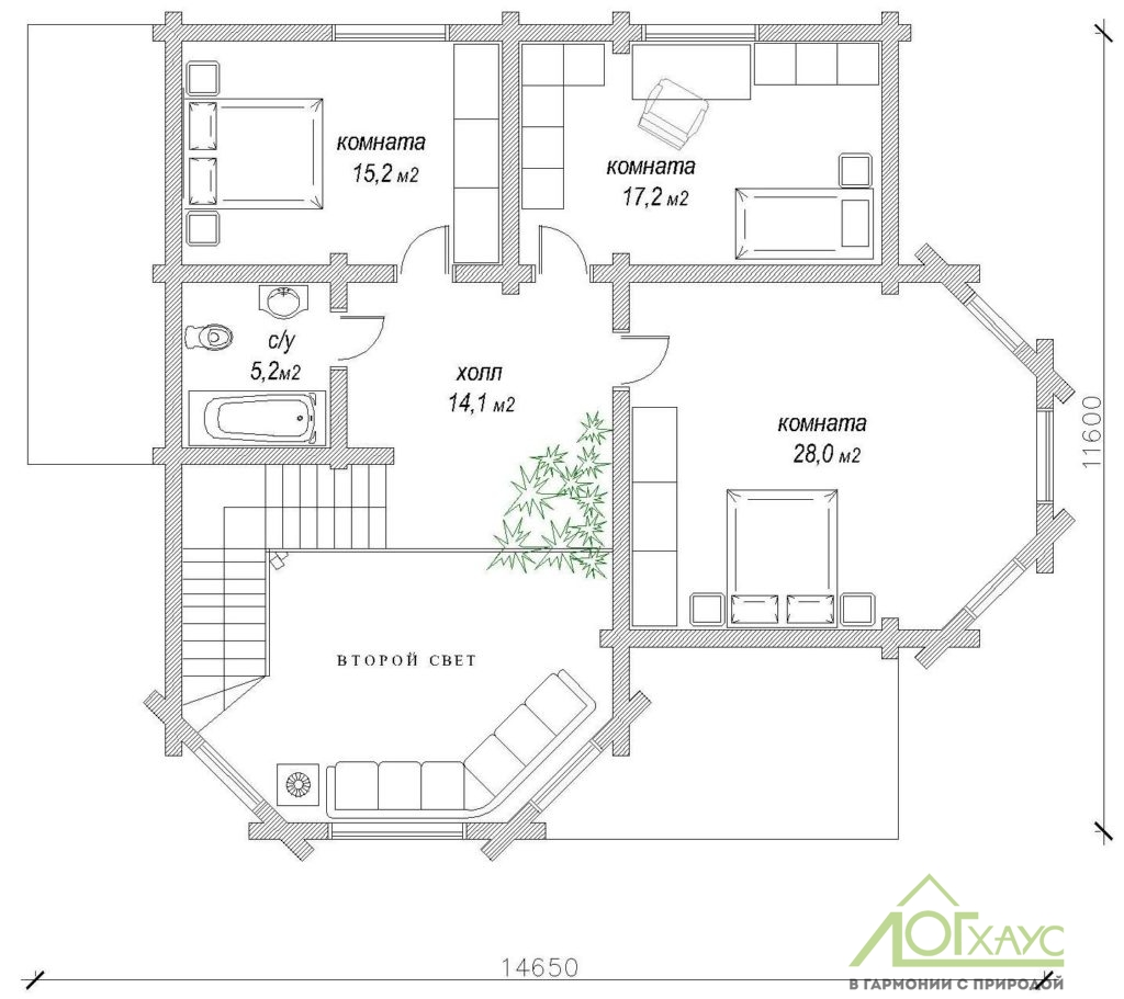 План второго этажа дома из бревна №258