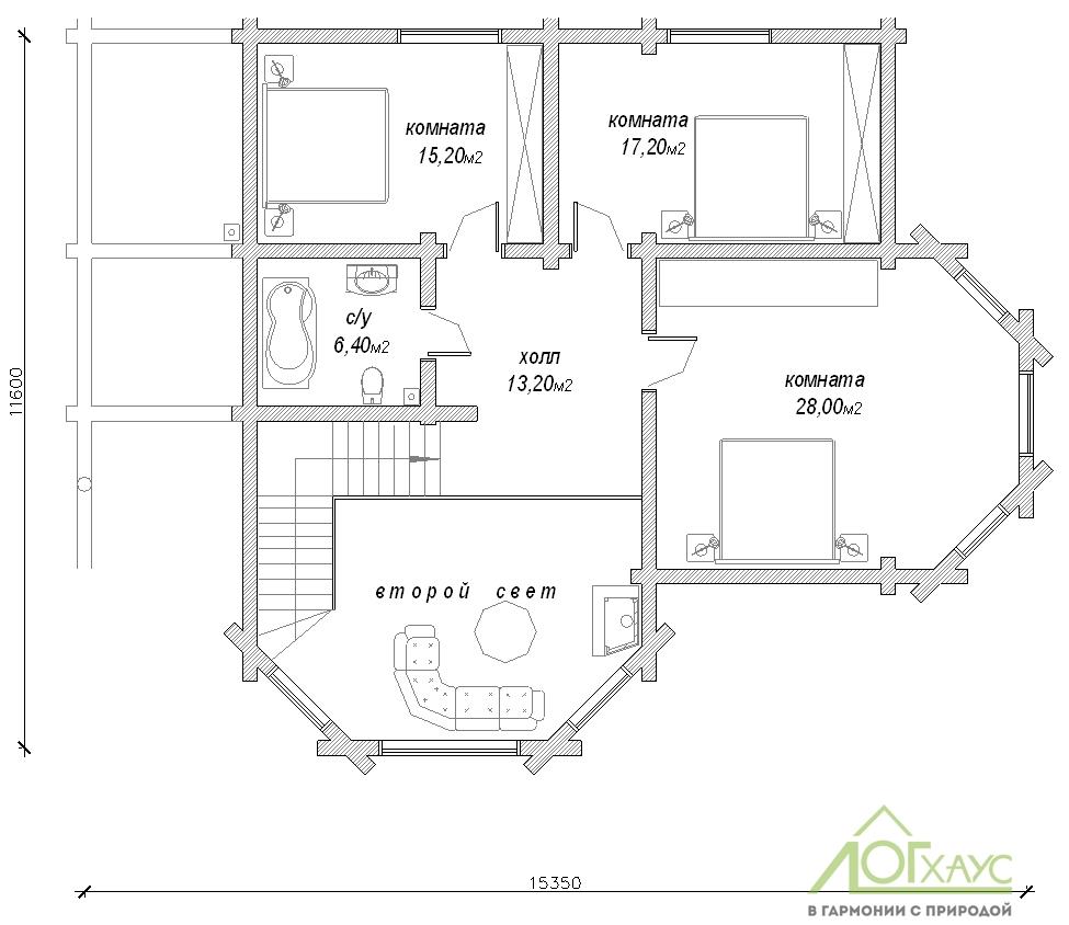 Планировка дома из бревна №263 (2й этаж)