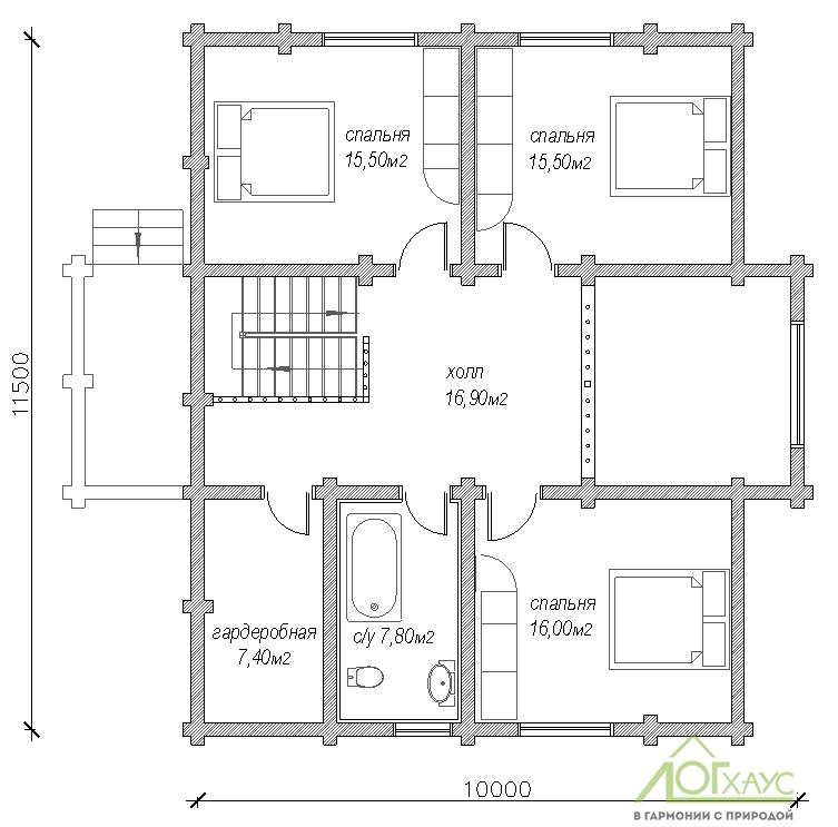 Планировка дома из бревна по проекту №221 (2й этаж)