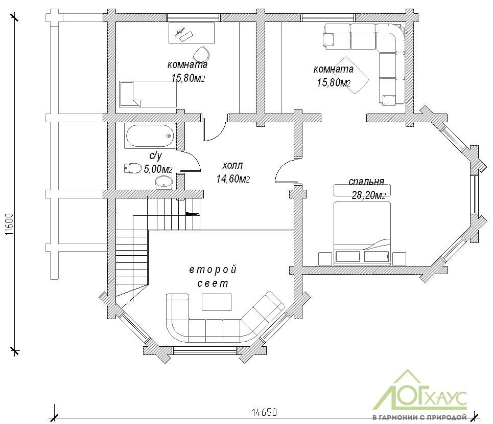 Планировка дома из бруса по проекту №264 (2этаж)