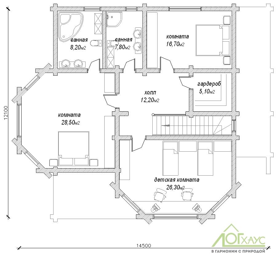 Планировка дома из бревна проекта 270 (2й этаж)