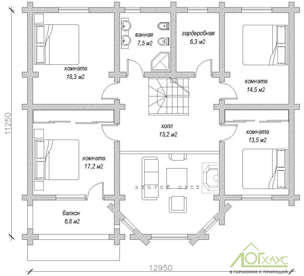 Планировка дома из бревна по 285 проекту (2й этаж)