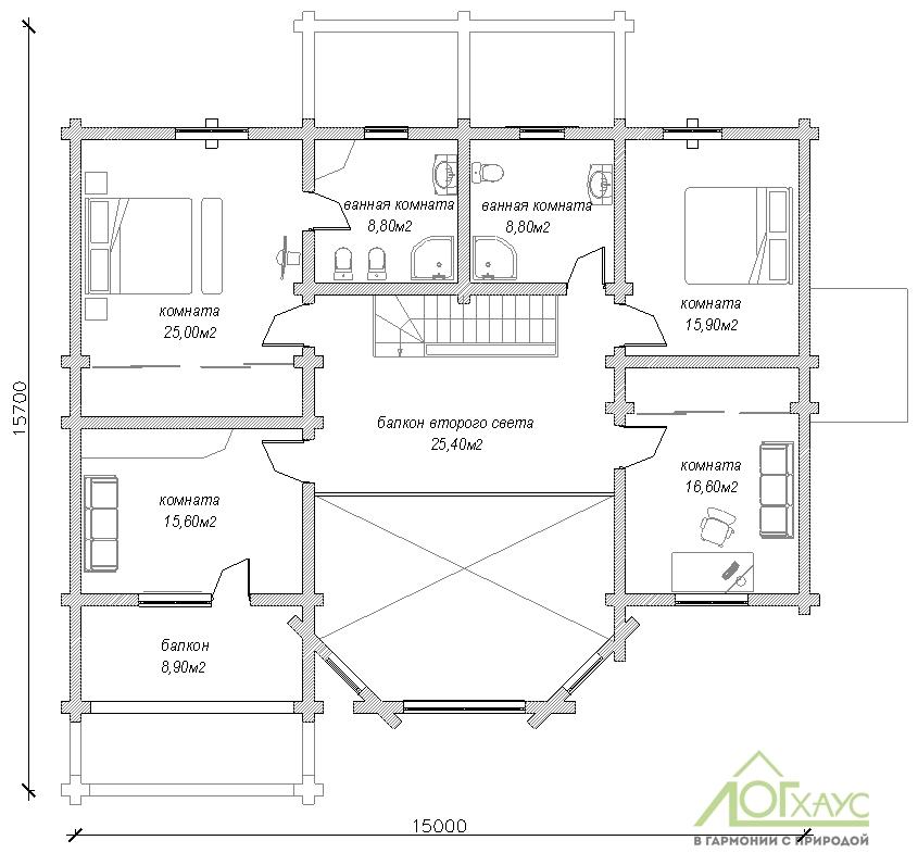 Планировка второго этажа дома по проекту №359
