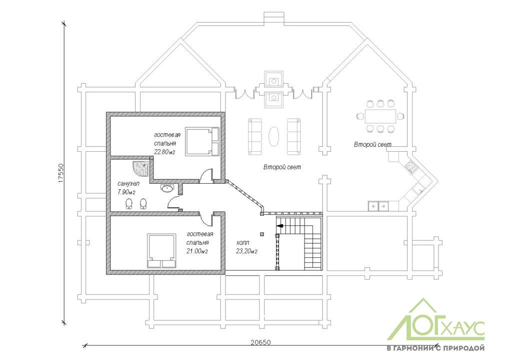 Планировка дома из ОЦБ с 5 спальнямиПланировка дома из ОЦБ с 5 спальнями №374