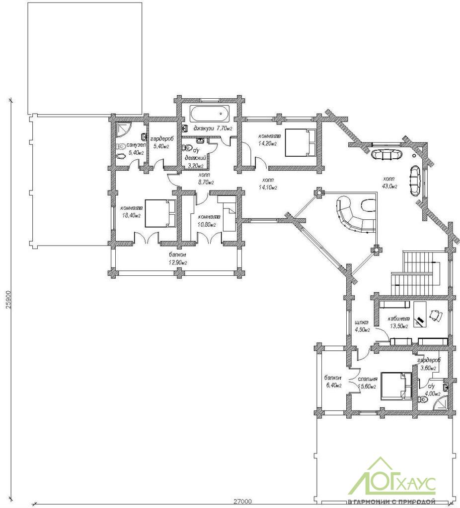 Второй этаж дома из бревна на 3 семьи
