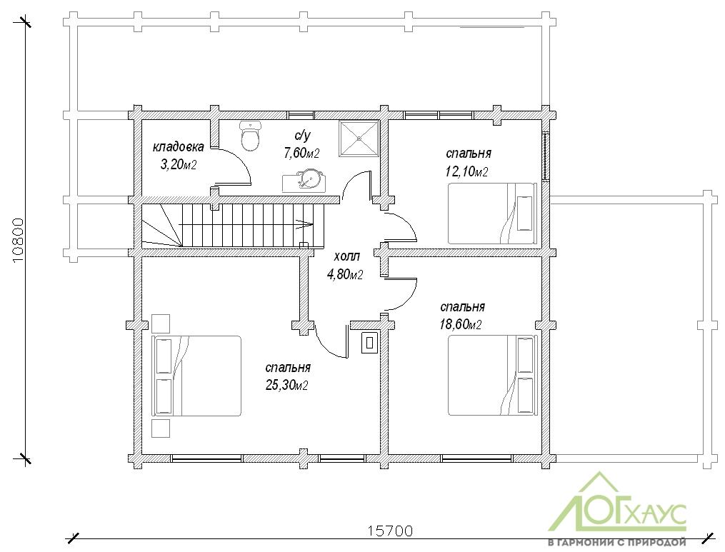 Планировка дома из бревна по проекту №225 (2й этаж)