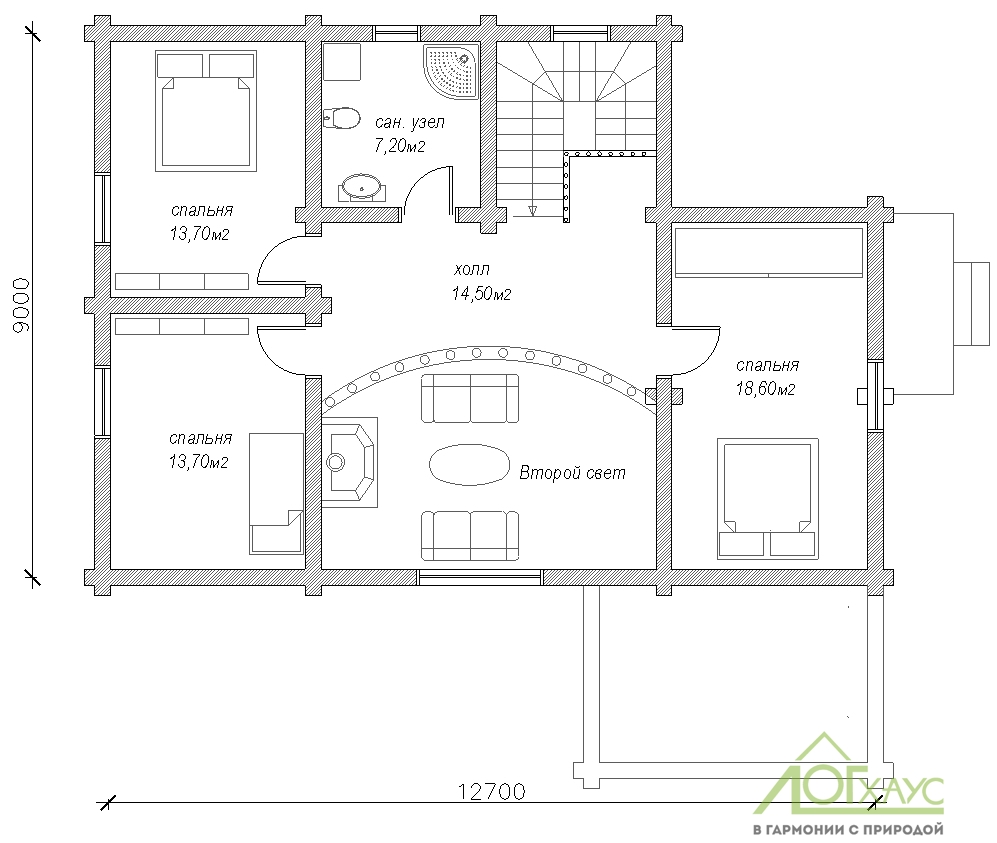 Планировка дома из бревна по проекту 228 (второй этаж)