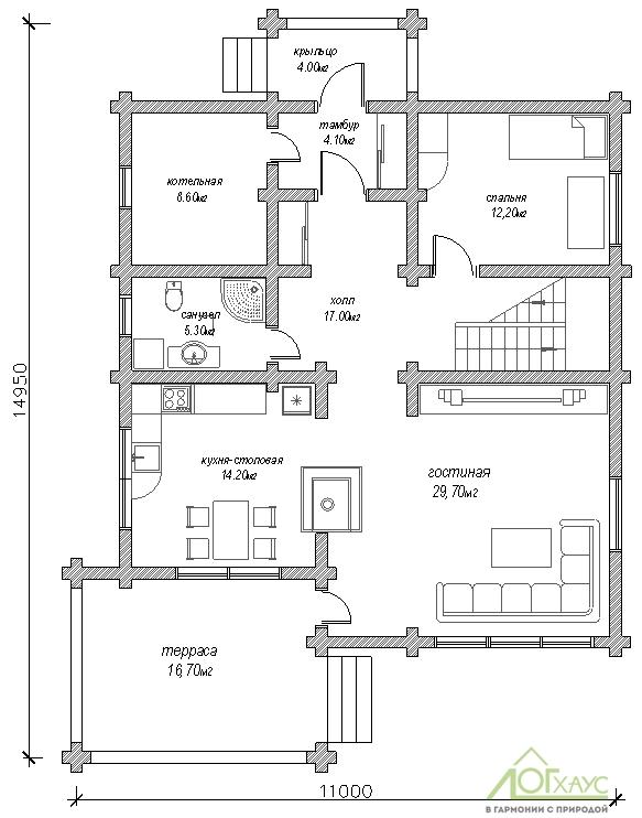 Планировка дома из бревна по проекту 230 (второй этаж)