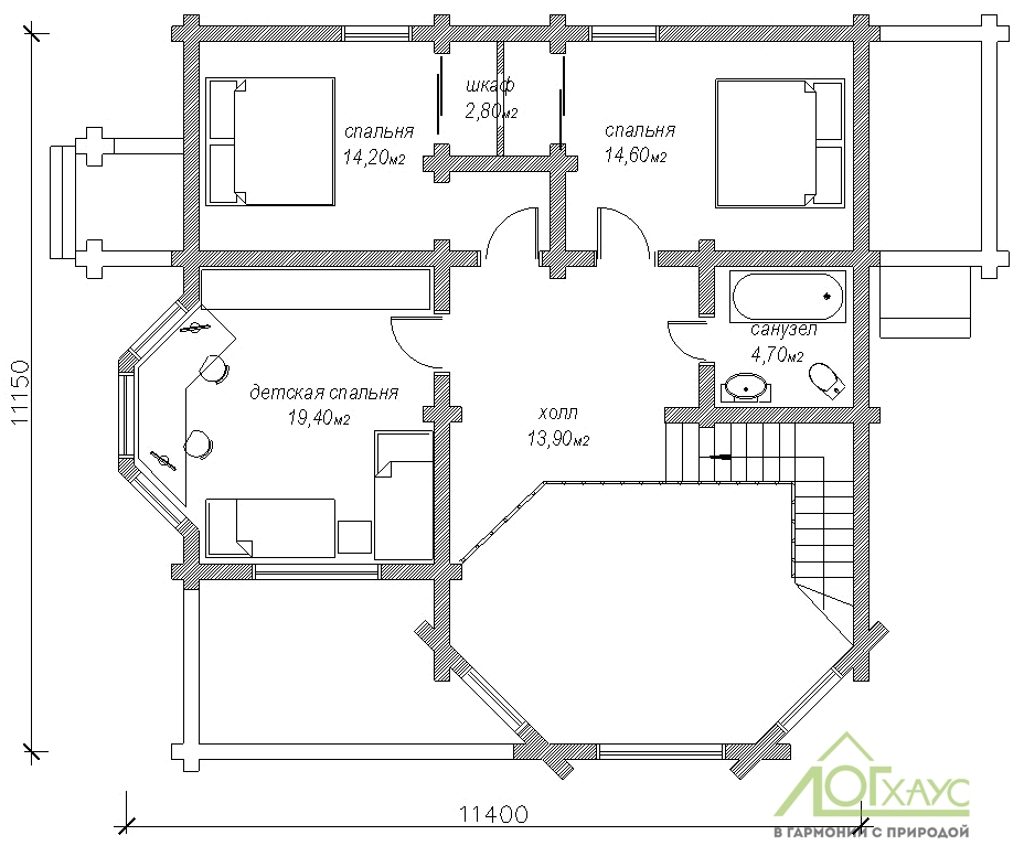 Планировка дома из ОЦБ 232 (2й этаж)