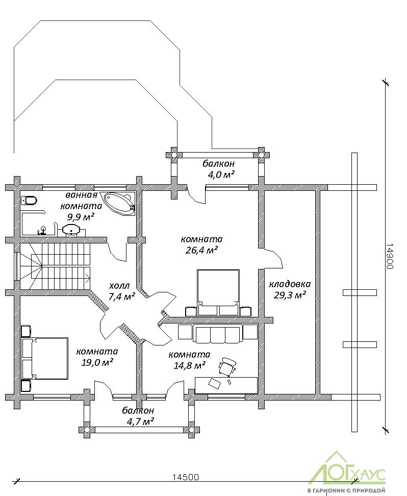 Планировка дома из ОЦБ №228 (2й этаж)