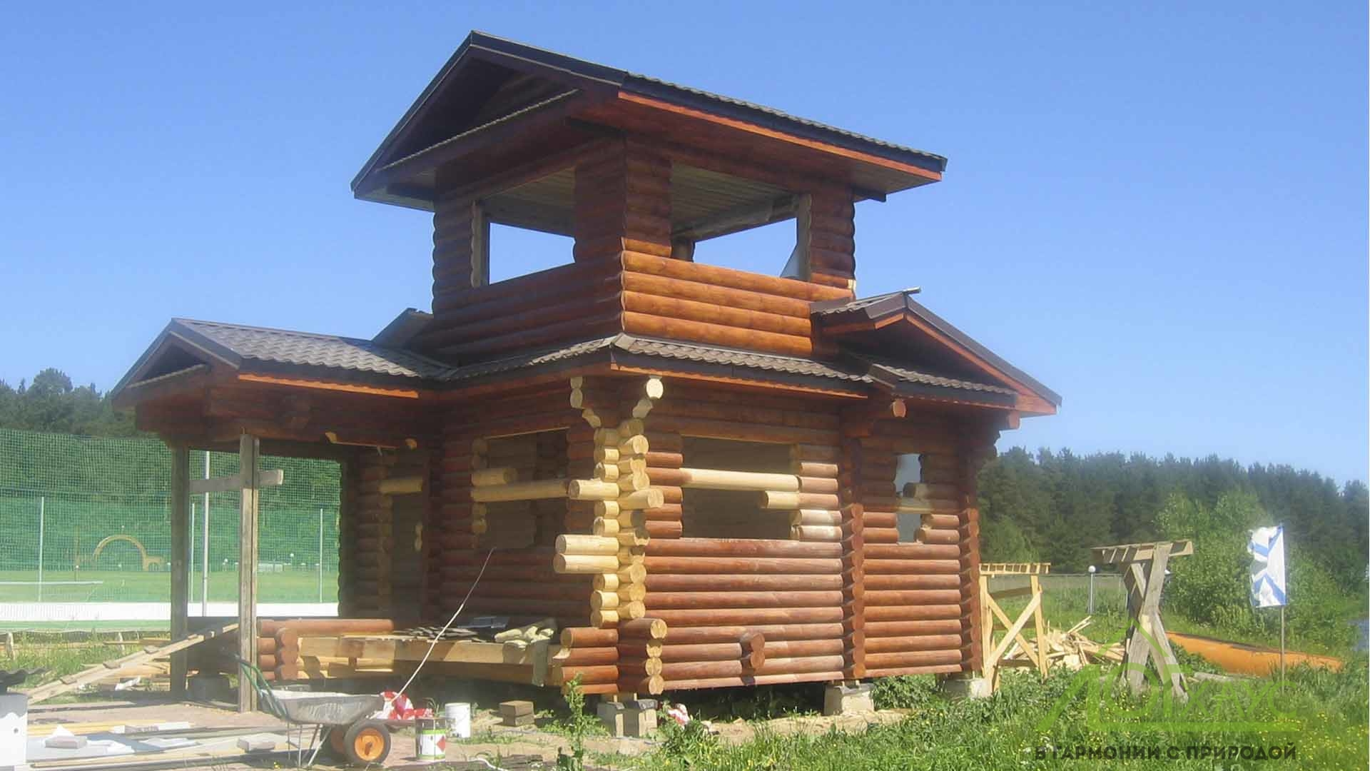 Монтаж дома из бревна и каркаса