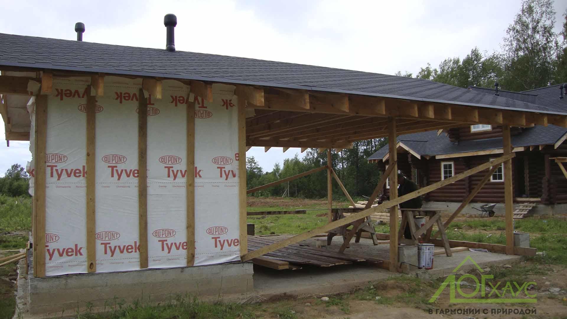 Монтаж стен каркасного гаража