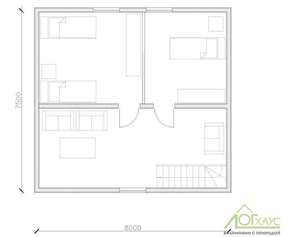 План второго этажа каркасного дома для охраны