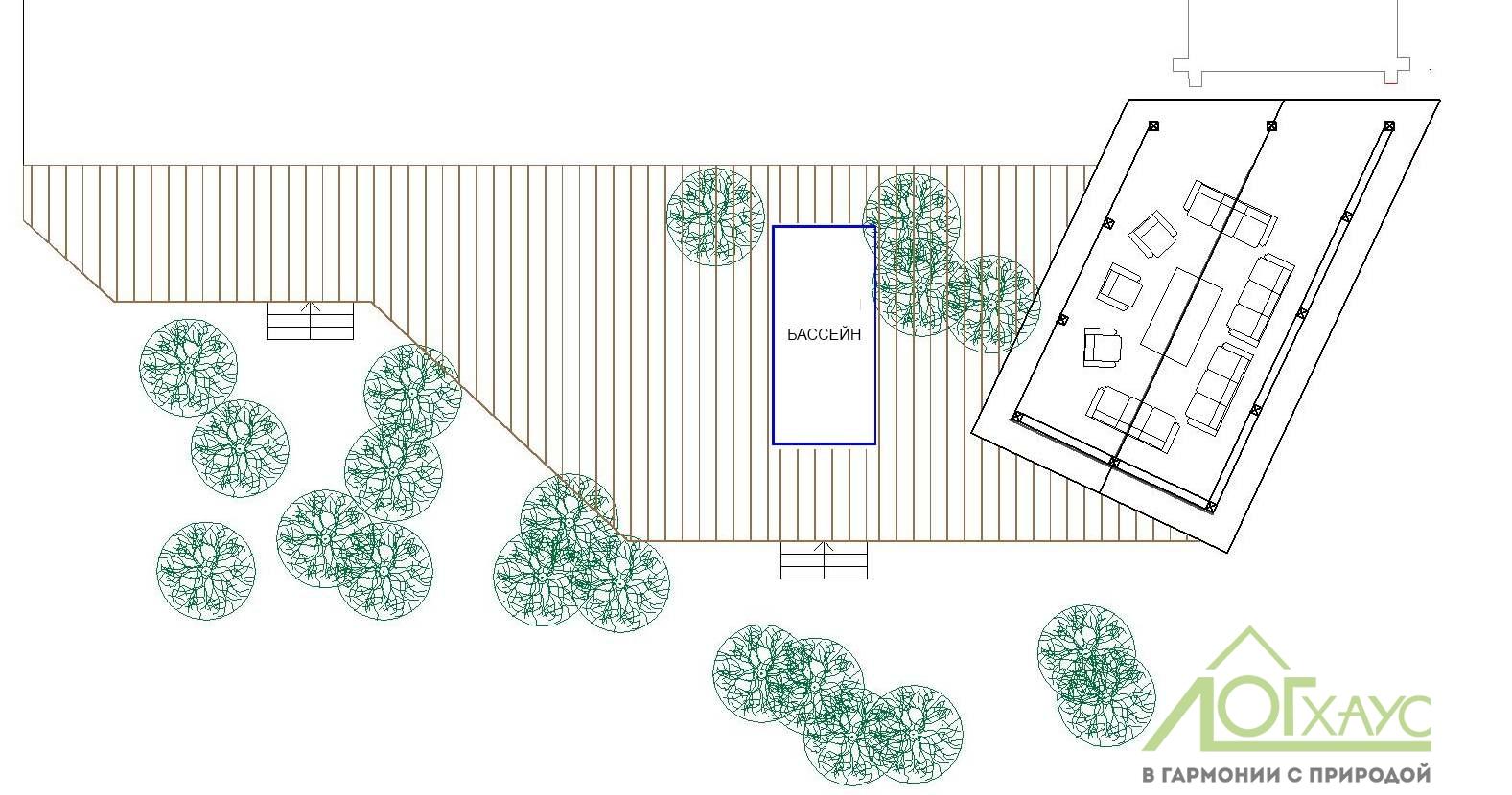 План веранды с бассейном