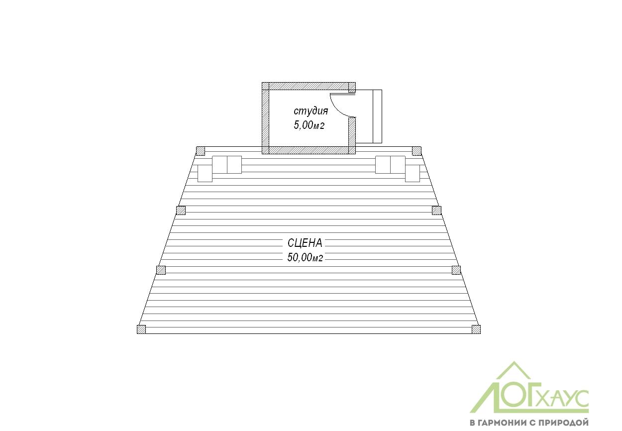 План павильона-сцены для турбазы