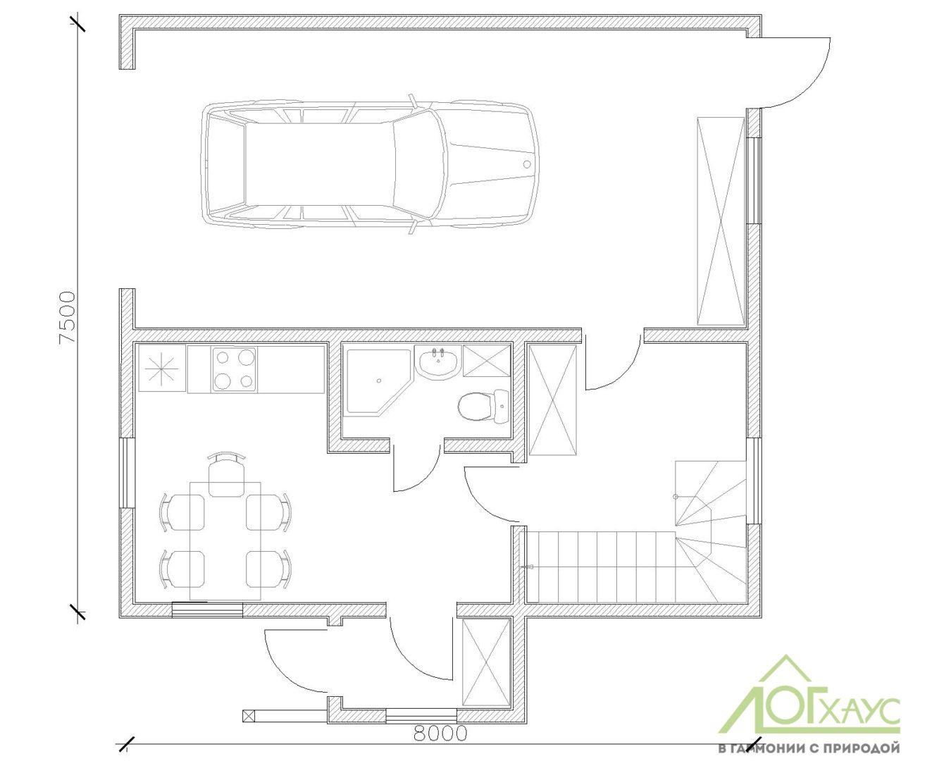 План первого этажа каркасного дома для охраны