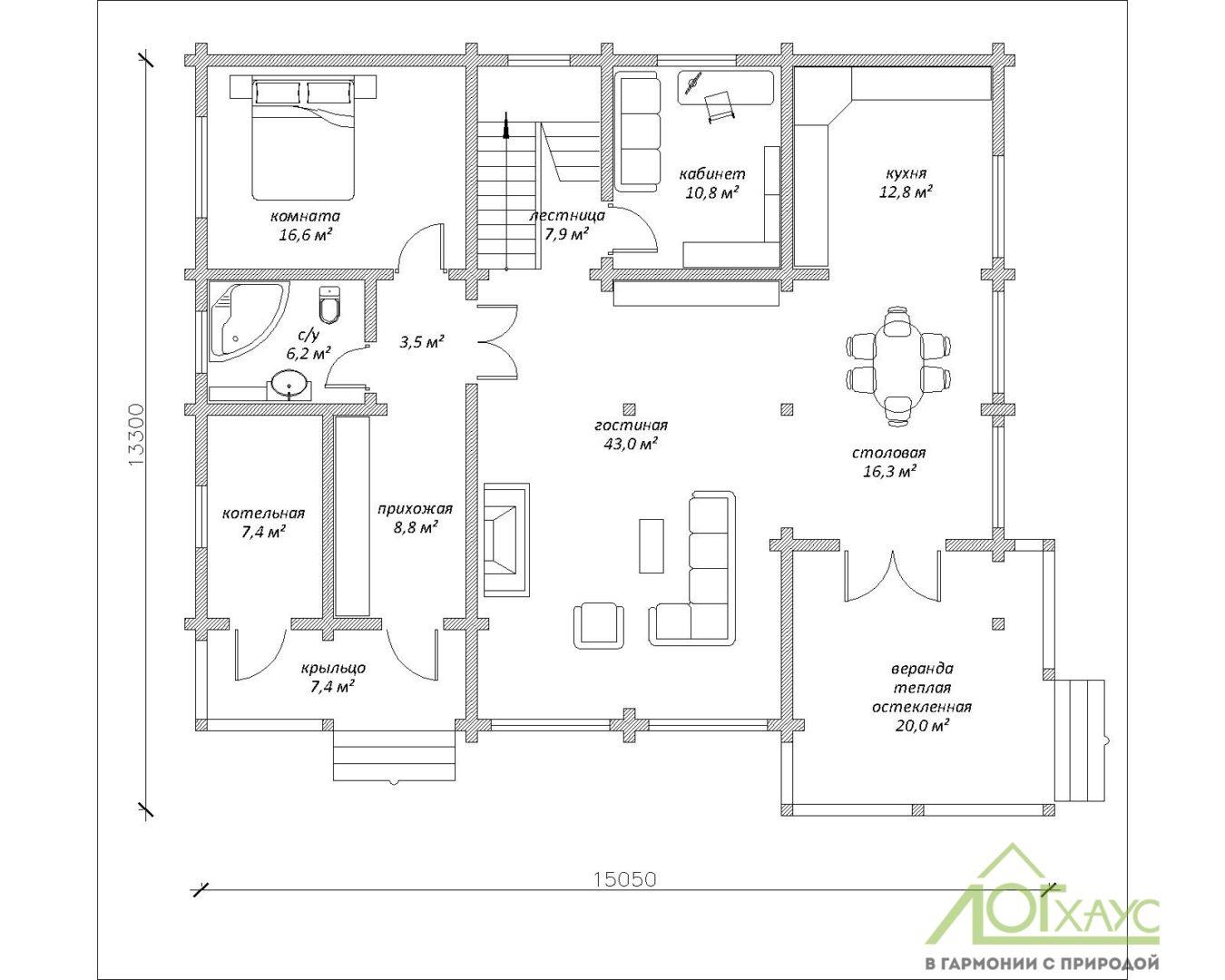План первого этажа дома из клееного бруса по проекту 328