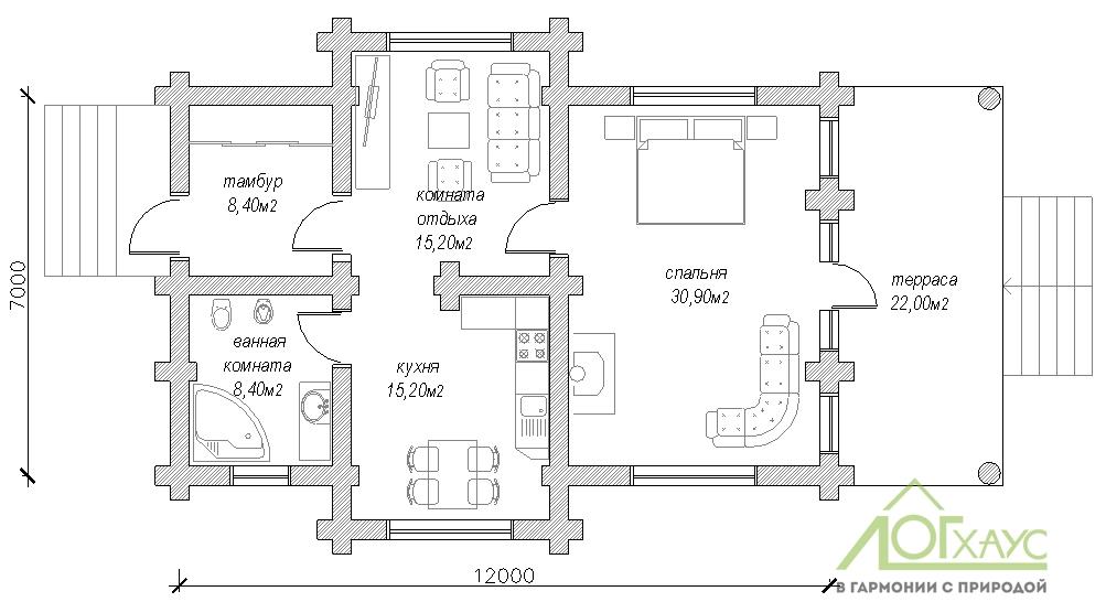 Планировка одноэтажного дома ручной рубки