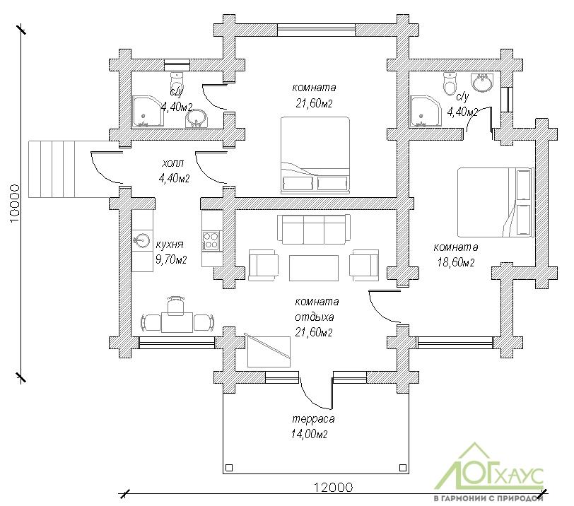 План гостевого дома из рубленного бревна