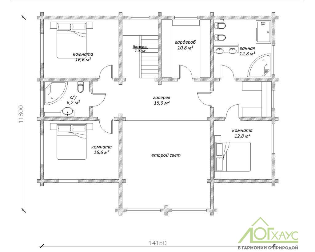 План второго этажа дома из клееного бруса по проекту 328
