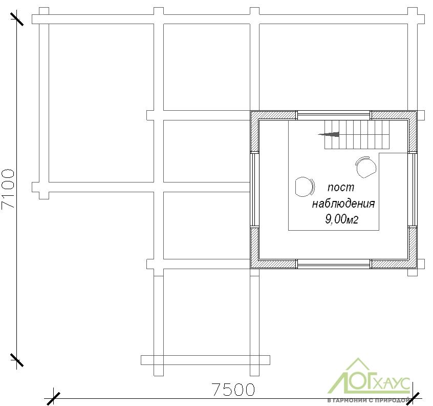 План второго этажа домика охраны