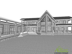 Визуализация дома из бруса проекта из клееного бруса №746