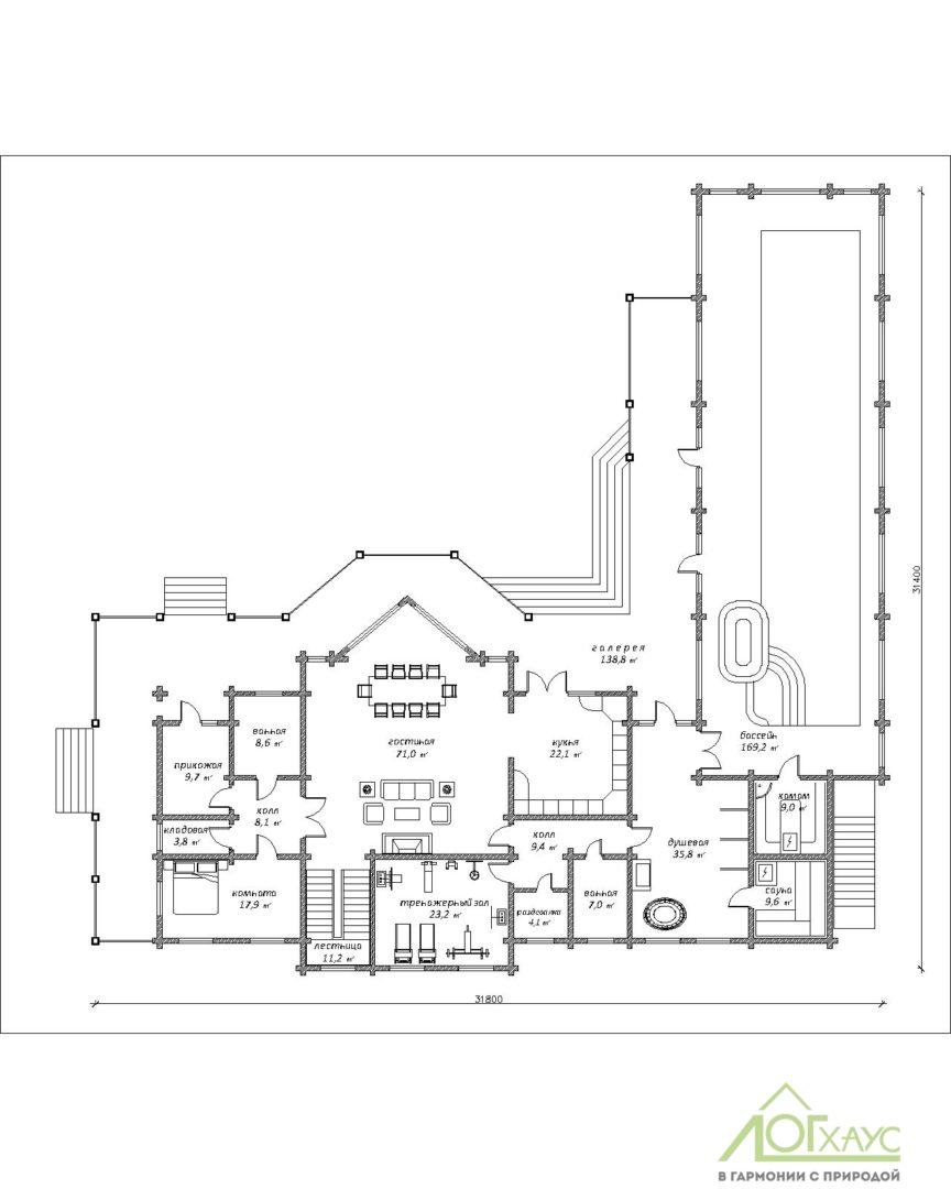 План первого этажа проекта дома из клееного бруса №746