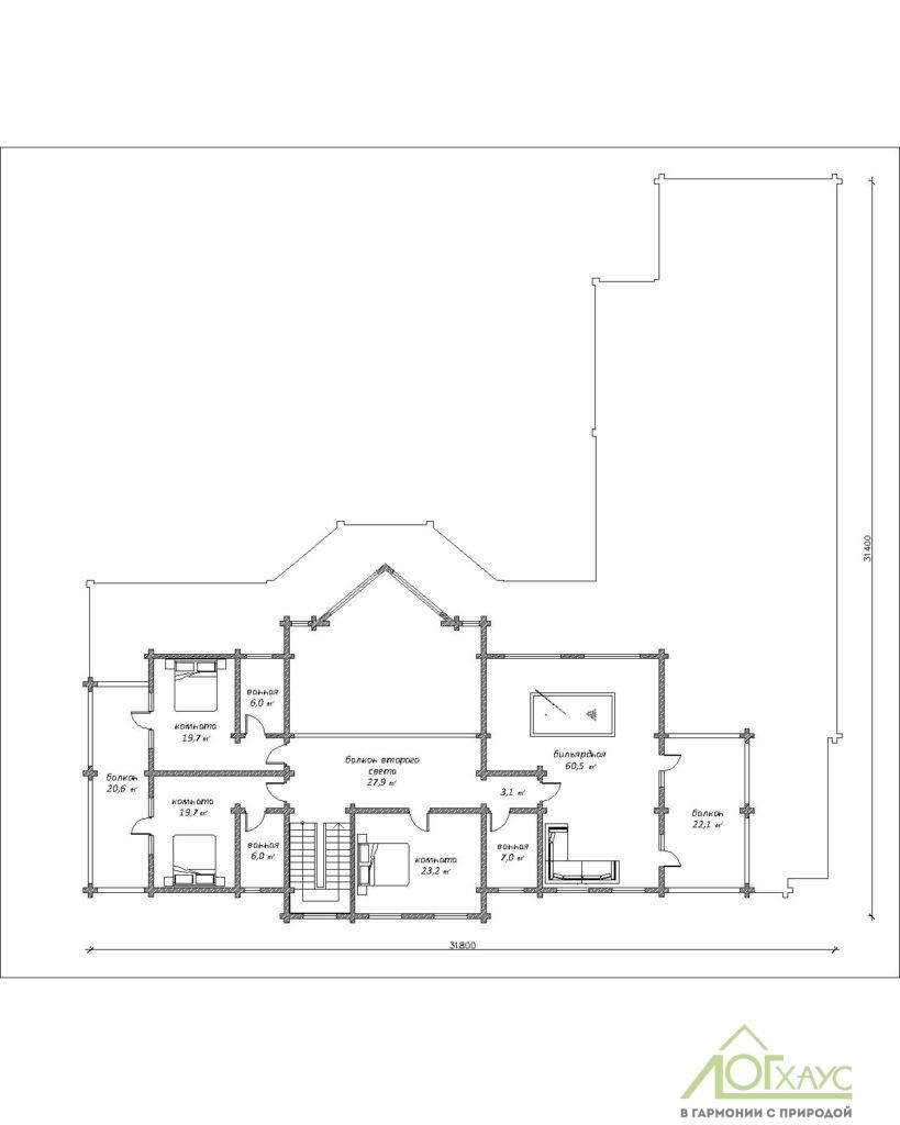 План второго этажа дома из клееного бруса по проекту 746