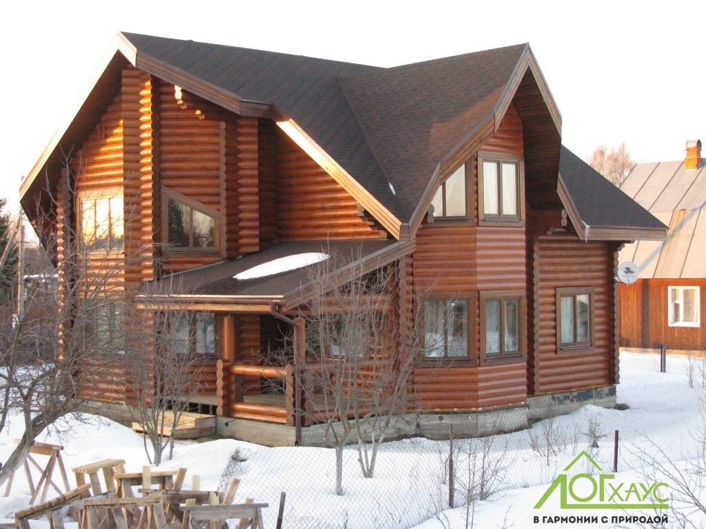 Двухэтажные дома из оцилиндрованного бревна